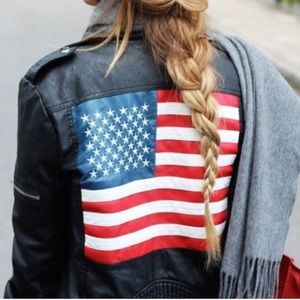 American Flag Unif Leather Jacket
